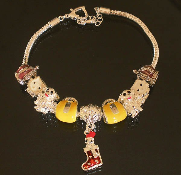 Plated Aldary Adjustable Chains Colorful Glass Beads Europe Bracelet EZ2092