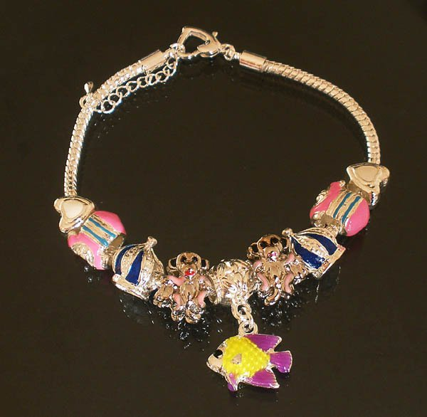 Plated Aldary Adjustable Chains Colorful Glass Beads Europe Bracelet EZ2093