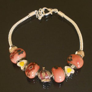 Plated Aldary Adjustable Chains Colorful Glass Beads Europe Bracelet EZ2100