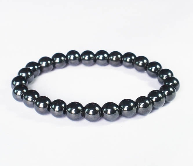 Natural Hematite Magnet Therap Health Hygienical Beads Stretchy Bracelet EG25