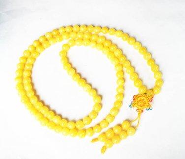 Tibet Yellow Stone 108 0.4inch Beads Buddhism Prayer Mala  Necklace