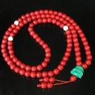 Turquoise Stone 108 0.4inch Red White Beads Green Buddhism Buddha Prayer Mala Necklace