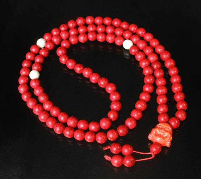 Turquoise Stone 108 0.4inch Red White Beads Orange Buddhism Buddha Prayer Mala Necklace