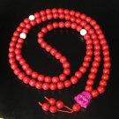 Turquoise Stone 108 0.4inch Red White Beads Purple Buddhism Buddha Prayer Mala Necklace