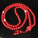 Turquoise Stone 108 0.4inch Red White Beads Red Buddhism Buddha Prayer Mala Necklace