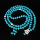 Turquoise Stone 108 0.4inch Baby Blue White Beads White Buddhism Buddha Prayer Mala Necklace