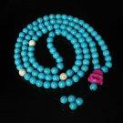 Turquoise Stone 108 0.4inch Baby Blue White Beads Purple Buddhism Buddha Prayer Mala Necklace