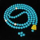 Turquoise Stone 108 0.4inch Baby Blue White Beads Yellow Buddhism Buddha Prayer Mala Necklace