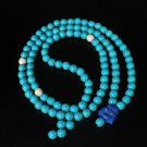 Turquoise Stone 108 0.4inch Baby Blue White Beads Blue Buddhism Buddha Prayer Mala Necklace
