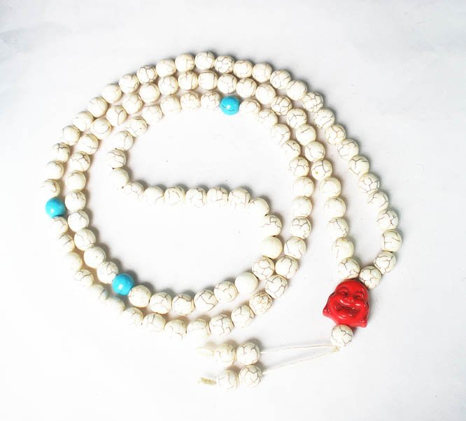Turquoise Stone 108 0.4inch Baby Blue White Beads Red Buddhism Buddha Prayer Mala Necklace