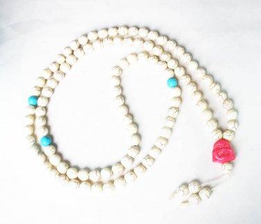 Turquoise Stone 108 0.4inch Baby Blue White Beads Pink Buddhism Buddha Prayer Mala Necklace