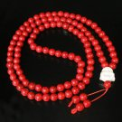 Turquoise Stone 108 0.4inch Red Beads White Buddhism Buddha Prayer Mala Necklace