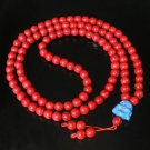 Turquoise Stone 108 0.4inch Red Beads Blue Buddhism Buddha Prayer Mala Necklace
