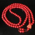 Turquoise Stone 108 0.4inch Red Beads Orange Buddhism Buddha Prayer Mala Necklace