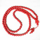Turquoise Stone 108 0.4inch Red Beads Red Buddhism Buddha Prayer Mala Necklace