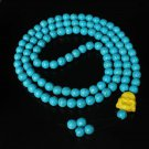 Turquoise Stone 108 0.4inch Baby Blue Beads Yellow Buddhism Buddha Prayer Mala Necklace