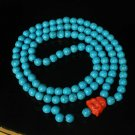 Turquoise Stone 108 0.4inch Baby Blue Beads Orange Buddhism Buddha Prayer Mala Necklace