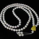 Turquoise Stone 108 0.4inch White Beads Yellow Buddhism Buddha Prayer Mala Necklace