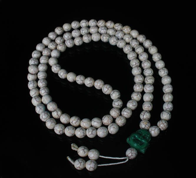 Turquoise Stone 108 0.4inch White Beads Green Buddhism Buddha Prayer Mala Necklace