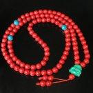 Turquoise Stone 108 0.4inch Red Blue Beads Green Buddhism Buddha Prayer Mala Necklace