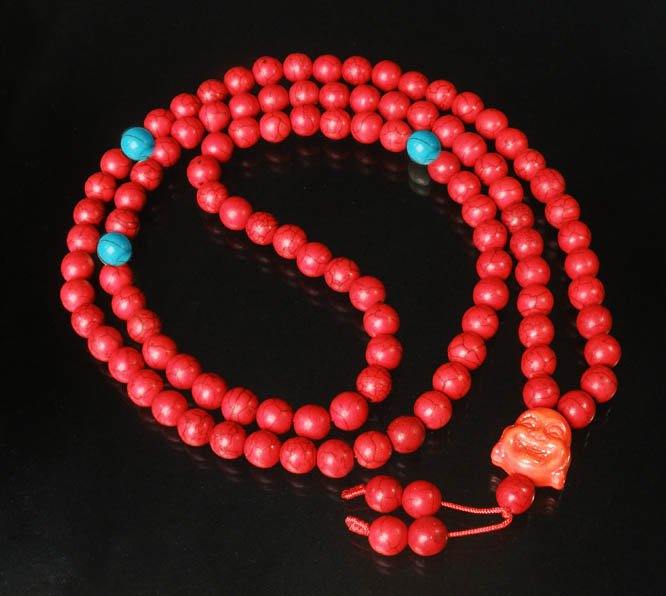 Turquoise Stone 108 0.4inch Red Blue Beads Orange Buddhism Buddha Prayer Mala Necklace