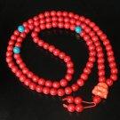 Turquoise Stone 108 0.4inch Red Blue Beads Orange Buddhism Buddha Prayer Mala Necklace