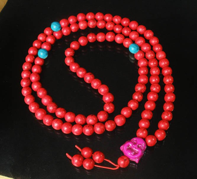 Turquoise Stone 108 0.4inch Red Blue Beads Purple Buddhism Buddha Prayer Mala Necklace