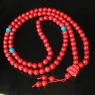 Turquoise Stone 108 0.4inch Red Blue Beads Red Buddhism Buddha Prayer Mala Necklace
