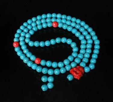 Turquoise Stone 108 0.4inch Red Blue Beads Red Buddhism Buddha Prayer Mala Necklace