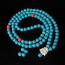 Turquoise Stone 108 0.4inch Red Blue Beads White Buddhism Buddha Prayer Mala Necklace