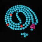 Turquoise Stone 108 0.4inch Red Blue Beads Purple Buddhism Buddha Prayer Mala Necklace