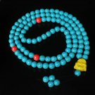 Turquoise Stone 108 0.4inch Red Blue Beads Yellow Buddhism Buddha Prayer Mala Necklace