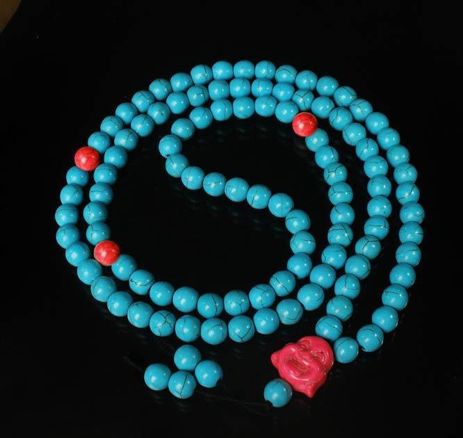 Turquoise Stone 108 0.4inch Red Blue Beads Pink Buddhism Buddha Prayer Mala Necklace