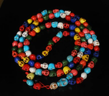 Fashion Jewelry Cool Turquoise 108 Mixed Vein 10x12mm Skull Beads Necklace