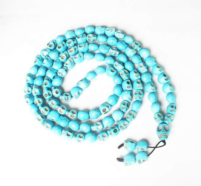 Fashion Jewelry Cool Turquoise 108 Baby Blue Vein 10x12mm Skull Beads Necklace