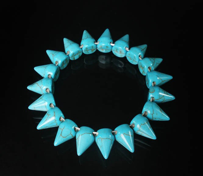 Cool Fashion Turquoise Baby Blue Spiculate Teeth Shape Vein Beads Stretch Bracelet