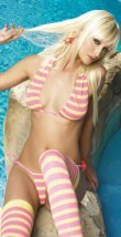 3 Piece Striped Halter Top, Thong and Stocking Set  0290L-8490
