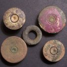 Shotgun Shell Bases, Lot of 5, 'Battlefield Dug' in Courland Peninsula, Latvia