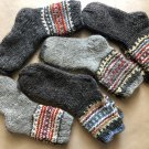 SHEEP WOOL MEN SOCKS. Hand Made 100% natural wool. HAND KNITTED GRAY MEN SOCKS. 1 pair