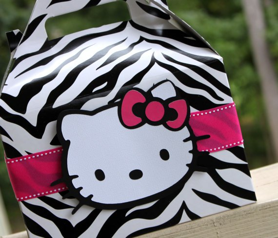 Set of 12 Hello Kitty Hot Pink and Black Zebra Birthday Party Favor Box
