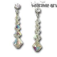 Swarovski Earrings for Wedding Brides, Bridesmaid ~ .925 Sterling Silver