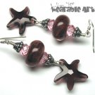 Nadia - Lampwork & Swarovski Starfish Earrings - ONE-OF-A-KIND