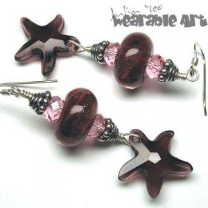Nadia - Lampwork & Swarovski Starfish Earrings - ONE-OF-A-KIND