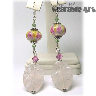 Rose - Lampwork & Swarovski Earrings - ONE-OF-A-KIND