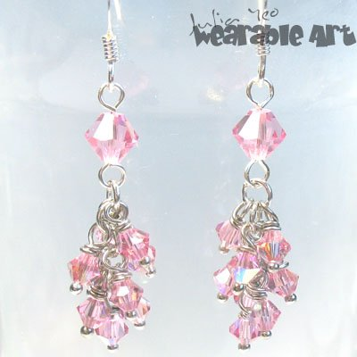 Glitters - Swarovski Crystal Cascade Earrings - Available in various colours