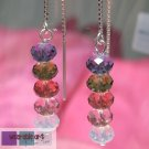 Beautiful Life - .925 Sterling Silver Ear Threads and Swarovski Crystal Earrings