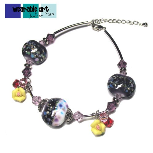 Tropical Oasis ~ One-of-a-kind Lampwork Bracelet