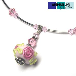 My Fair Lady - Unique Lampwork Pendant Necklace, Swarovski Crystals, Bali Silver
