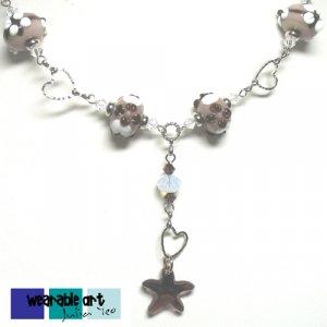 Coffee Garden ~ Unique Lampwork Swarovski Starfish Pendant Necklace