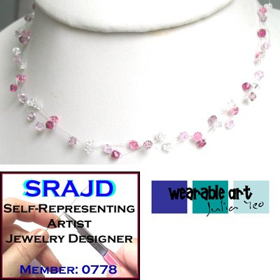 ~Flora~ 3 strand illusion / Swarovski Crystal Lariat Necklace